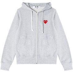 CDG Play sweatshirt ($326) ❤ liked on Polyvore featuring tops, hoodies, sweatshirts, zipper hoodies, sweatshirt hoodie, gray hoodie, zip hoodie sweatshirt and zipper hoodie