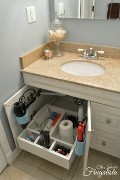 Make use of under sink storage space with this Super Simple DIY sliding vanity shelf !