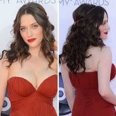 Kat Dennings.  tousled curls with a little hair jewelry.  Emmy Awards 2012.