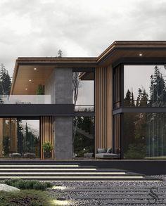 Portfolio moderne haus in den usa Rustic Houses Exterior, Dream House Exterior, Modern Exterior, Interior Modern, Exterior Design, Modern House Facades, Modern Architecture House, Architecture Design, Pavilion Architecture