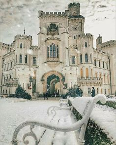 A snowy day at Hluboká Castle- a historic château situated in Hluboká nad Vltavou, and it is considered one of the most beautiful castles in the Czech Republic. (Simple Elegance)