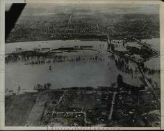 1938 Press Photo Michigan Rivers Flood Ionia Fair Grounds