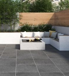 Buy Bluenorte Outdoor Slab tiles professionally sourced by Tons of Tiles from leading manufacturers from around the world. Back Garden Design, Terrace Design, Garden Landscape Design, Back Garden Ideas, Backyard Seating, Backyard Patio Designs, Outdoor Seating, Outdoor Sofa, Outdoor Living
