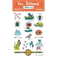 Une planche de super tatouages aventure pour votre super héros! On pose le tattoo sur sa peau, on le mouille et on attend 30 secondes.    Il s'enlèvera facilement avec de l'alcool ou un dissolvant doux.    Dessinéspar Julie Daleyden pourMoulin Roty. Planche de 12 x 17 cm, 15 tatouages éphémères. Les Tattoos des Mask'ottes.   5,50 € http://www.lafolleadresse.com/bijoux-fantaisie/3386-tatouages-aventure.html