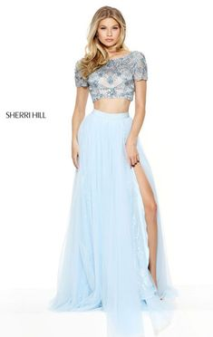 Beaded Embellishments Sherri Hill 50857 Short Sleeves Light Blue Two Piece Lace Slit Long Pleated Chiffon Evening Gown 2017