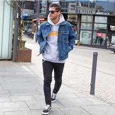 denim over hoodie with casual sneakers