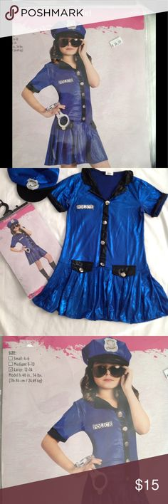 Girls Police Chief costume size large 12-12 new Cute costume for that school play, or just dress up , great Halloween costume to.Includes dress and hat . Costumes Halloween