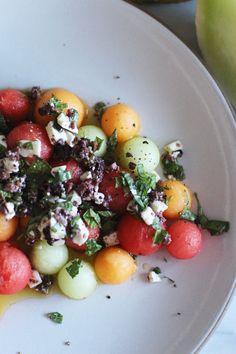 Melon salad with feta and olives | HonestlyYUM