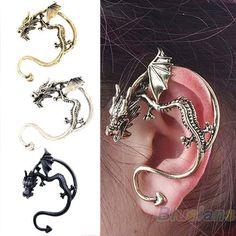 Cool Mens Lady Antique Metal Dragon Bite Ear Cuff Wrap Gothic Earring Stud B1CU #GreatOrleansus #Cuff