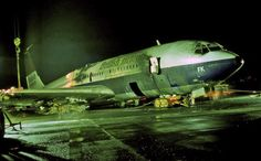 17 March 1977 – British Airtours Boeing 707 G-APFK crashed on landing at Glasgow Prestwick Airport during a training flight. The aircraft was destroyed in the post-crash fire. All four people on board escaped uninjured. Aviation Accidents, Boeing 707, Civil Aviation, Spacecraft, Airplane, Landing, Abandoned, United Kingdom, Aircraft