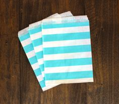 Light Blue Striped Treat Paper Bags  packaging by BoxandBowsupply, $3.00
