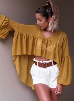V Neck Asymmetric Hem Plain Lantern Sleeve Blouses - Cute Outfits Loose Shirts, Shirts & Tops, Shirt Blouses, Look Fashion, Hijab Fashion, Fashion Dresses, Winter Fashion, Mode Kimono, Mode Hijab