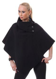 Damen Poncho Umhang Cape Überwurf Stehkragen Rollkragen Pullover 34-36-38 (Einheitsgröße) schwarz