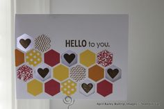 How cute is this hexagon card? Stampin Up