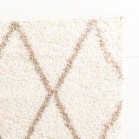 Flauschiger Teppich in Creme und Taupe mit Rautenmuster in Beni Ourain Optik. Größe 160x230 cm. Jetzt günstig shoppen auf www.klick-vinyl-boden.de