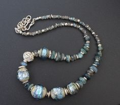 Lampwork and silver necklace / 'Norwegian sea'