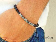 Mens bracelet,Unisex bracelet,Frosted Onyx bracelet,Ocean Jasper bracelet,Stretch bracelet,Gemstone bracelet,Energy bracelet,Yoga bracelet