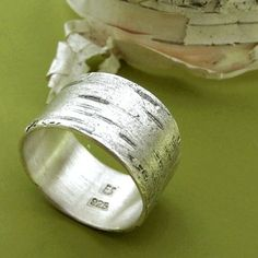 Birch Bark Ring Sterling Silver by esdesigns on Etsy.I love wide silver rings. Jewelry Rings, Jewelry Accessories, Scott Jewelry, Gold Jewellery, Ring Pictures, Birch Bark, One Ring, Sterling Silver Jewelry, Silver Earrings