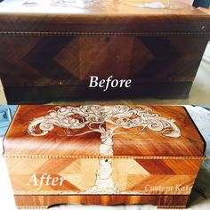 Decorative stain art on a 1947 Lane cedar chest by Custom Kate.  #customkatepaints https://www.facebook.com/pages/Custom-Kate/167150556951238
