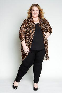 Plus Size Clothing for Women - Jessica Kane Flowy Leopard Plus Size Cardigan (One Size Fits 16 - 22) - Society+ - Society Plus - Buy Online Now!