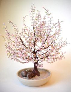 Cherry Blossom Bonsai - Beaded árbol de Bonsai