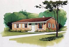 House Plan 95000 | Colonial   Ranch   Retro    Plan with 1080 Sq. Ft., 3 Bedrooms, 2 Bathrooms