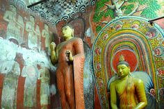 First cave of the golden temple, Dambulla, Sri Lanka Golden Temple, World Heritage Sites, Middle Ages, Buddhism, The Rock, Sri Lanka, Statues, Cave, India