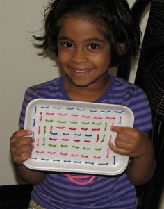 """preschool sewing -using a styrofoam plate - with a 3 yo, we made a wild spiderweb so that the """"sewing"""" could be erratic"""