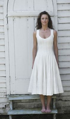 ivy day dress -- appliqued strips for texture. White on white fabric