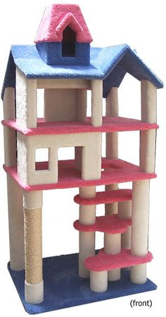 Deluxe Dollhouse Condo / cat dollhouse tower / buy here: http://www.hollywoodkittyco.com/for-cat/themed-cat-furniture/deluxe-dollhouse-condo.html  Dollhouse Condo, buy here: http://www.hollywoodkittyco.com/for-cat/themed-cat-furniture/dollhouse-condo.html