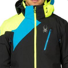 Spyder Vyper Jacket Herren Skijacke schwarz blau gelb – Bild 3 #spyder #skibekleidung #outlet #sporthausmarquardt