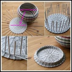 víko s vnějším rantlem Newspaper Basket, Newspaper Crafts, Diy Paper, Paper Art, Paper Basket Weaving, Paper Shaper, Loom Weaving, Weaving Techniques, Diy Gifts