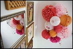 Google Image Result for http://www.babylifestyles.com/images/nursery/pink-orange-eclectic-nursery/eclectic-pink-orange-treasure-nursery-ceiling-tissue-poms.jpg