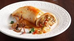 Stuffed Calamari - Greece Is Fish And Meat, Fish And Seafood, Food Network Recipes, Cooking Recipes, The Kitchen Food Network, Party Desserts, Greek Recipes, Feta, Food And Drink
