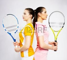 Picture of portrait of two sporty girls tennis players with rackets standing back to back stock photo, images and stock photography. Tennis Photography, Portrait Photography, Senior Photos, Senior Portraits, Sporty Girls, Tennis Players, Rackets, Tennis Racket, Fitness