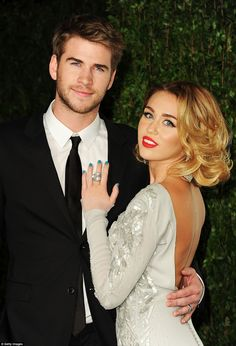 Cute couple: Miley and Liam first started dating in 2009 after meeting on the set of The Last Song. They became engaged in 2012 but broke things off soon after, only to rekindle their romance years later