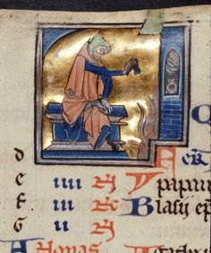Detail from a February calendar of a man drying his shoe by the fire, from a Psalter, France (Paris), c. 1250, Royal MS 2 B II, f. 1v