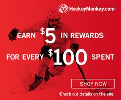 Rebound Rewards - Earn $5 in rewards for every $100 spent! See site for details. Shop HockeyMonkey Now!