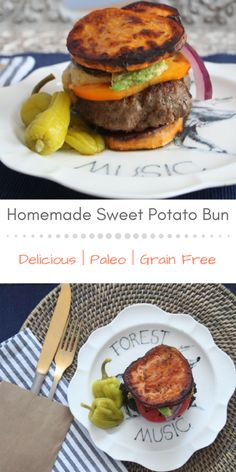 Seriously delicious and incredibly satisfying sweet potato bun recipe! So YUM! Paleo and grain free! Best Hamburger Recipes, Best Burger Recipe, Paleo Recipes, Whole Food Recipes, Cooking Recipes, Hamburger Buns, Grilling Recipes, Lunch Recipes, Summer Recipes
