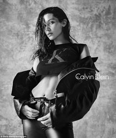 Style in black and white: On Tuesday Bella Hadid revealed the latest campaign image for Calvin Klein