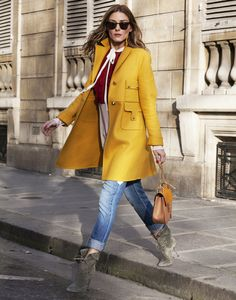 yellow coat.