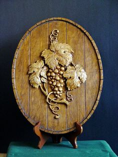 Hand Made Wood Carving of Grape Vines