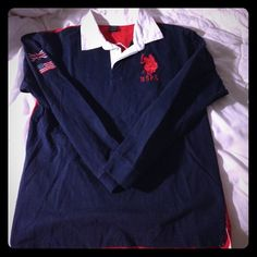 """U.S. Polo Assn. long sleeve Boys' Rugby shirt U.S. Polo Association boys sz 14/16 long sleeve Rugby shirt. Really nice thick cotton, bright navy on front with large red rugby embroidery, red on back with player number """"3"""". Right upper arm has American flag and Union Jack embroidered patches. I bought this for me :-) fits like a women's small. U.S. Polo Assn Tops"""