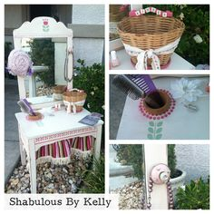 Adorable child's vanity repurposed from an old seeing table. Attached a mirror and added stenciling and accessories.