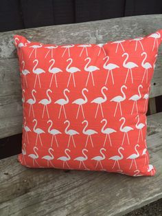 Beautiful bright coral and white flamingo print outdoor cushion cover to perfectly fit a 50cm Insert.  Great on its own but would look fabulous