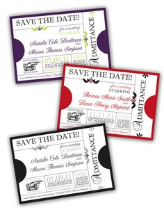Theater Style Save the Date Wedding Anniversary by invitealicious