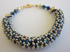 Netted Bracelet with 4mm crystals and pearls   Russian tutorial with English subtitles..great colour choice