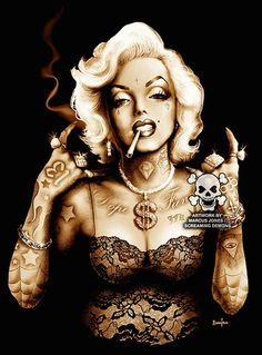 Title: Gangsta Marilyn Artist: Marcus Jones Screaming Demons Watermark will not be on image. Made-to-order canvas fine art reproductions on canvas featuring the original artwork of today's hottest tat                                                                                                                                                                                 More