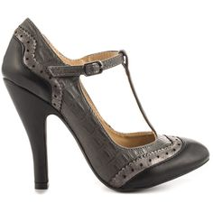 Dolce by Mojo Moxy Women's Harper - Black ($46) ❤ liked on Polyvore featuring shoes, black, vegan shoes, high heel shoes, black shoes, perforated shoes and kohl shoes