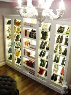 Love the lighted shoe closet!